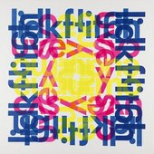 typography-themed artwork in magenta and blue and yellow