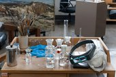 empty vessels in a conservation studio