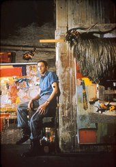 Robert Rauschenberg in his Pearl Street studio