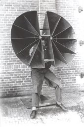 'Personal sound locator', a device for artillery or anti-aircraft sound ranging, being tested at the Dutch military research station at Waalsdorp, the Netherlands, c.1930s