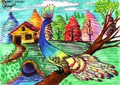 bright drawings of a peacock on a tree branch with trees and a house in the background