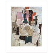 abstract cubist painting of a table-top scene, with fruit-bowl, violin, bottle and (painted) newspaper