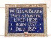 Plaque commemorating William Blake at 17 South Molton Street