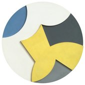 A round painting with relief in yellow, grey, black, white and blue