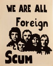 Poster designed by Peter Binns during the LSE student occupation in October 1968, where the Poster Workshop had set up a temporary silkscreen printing press in the refectory
