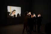 A group of children with a projector