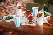 burgers on a table