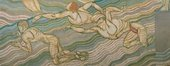 abstract painting in muted colours of male nudes swimming through water