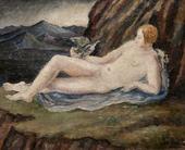 Dora Carrington Reclinging nude with dove in a mountainous landscape (Portrait of Henrietta Bingham)
