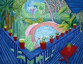 David Hockney Red Pots in the Garden 2000