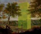 yellow block painting on an old master painting of a landscape