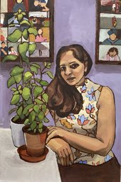 painting of a woman sitting at a table next to a plant