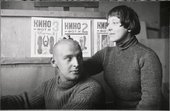 Alexander Rodchenko and Varvara Stepanova in their studio1922.