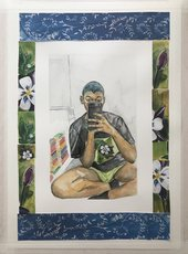 painting of a woman taking a selfie in a mirror surrounded by flowers