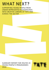 Cover of the Routes In report pdf, with the title and logo, and a yellow background and white rectangles perhaps reminiscent of a teetering pile of books or stepping stones
