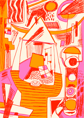 Illustration of people in the style of Kandinsky