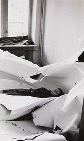 Irina Nakhova in her studio during the de-installation of Room No. 2, 1984