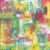 colourful print with figures of people