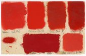 Samples of red oil paint on paper painted by Patrick, c.1958 - (c) The Estate of Patrick Heron. All rights reserved, DACS 2018, photo (c) Susanna Heron. All rights reserved, DACS 2018