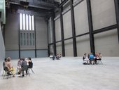 Focus groups gathering in the turbine hall