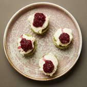 scones with whipped cream and compote