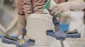 Pouring the jesmonite mixture