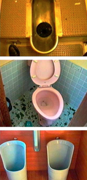 Stills of different types of toilets