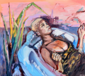 woman lying in water and reeds