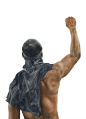 painting of a man in a durag with a raised fist