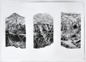 three pencil drawings of a mountain range