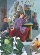 paiting of a woman painting in her studio