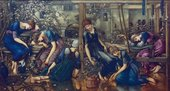 Painting by Sir Edward Coley Burne-Jones titled The Garden Court