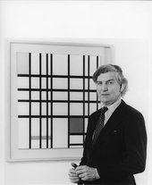 Image credit: Sir Alan Bowness with Piet Mondrian's 'Composition with Yellow, Blue and Red' at Tate, 1980