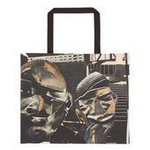 two collage figures on a tote bag