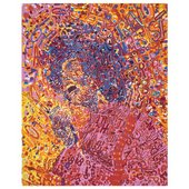 A colourful abstract painting of a man or woman singing into a microphone