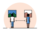 illustration of two people standing apart from each other