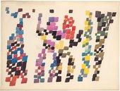 Sophie Taeuber-Arp Quadrangular Strokes Evoking Group of Figures 1920