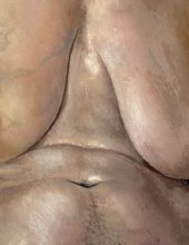 Stanley Spencer, Nude, Portrait of Patricia Preece 1935, oil paint on canvas, 76.2 x 50.8 cm (detail)