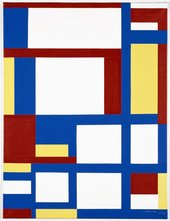 Painting of red, blue, yellow and white geometric shapes