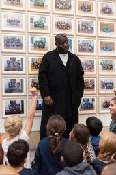 Steve McQueen with schoolchildren in Year 3 at Tate Britain, 2019