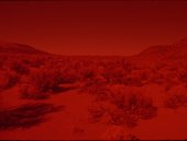 image of a desert with red filter