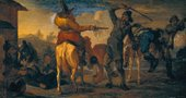 Fig.1 Francis Le Piper ?1640–1695 The Combat of Hudibras and Cerdon c.1664-77 Oil paint on panel 235 x 432 mm T00247