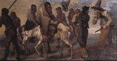 Francis Le Piper ?16401695 Hudibras and Ralph taken Prisoner c.1664-77 Oil paint on panel 232 x 432 mm T00248