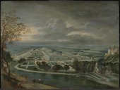 Jan Griffier the Elder c.1645‒1718 View of Hampton Court Palace c.1700 Oil paint on panel 381 x 505 mm T00408