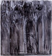 Energetic charcoal drawing with lots of black white and grey lines making the rough outline of gothic windows.