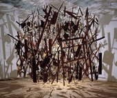 Cornelia Parker's Cold Dark Matter: An Exploded View 1991, pieces of an exploded garden shed suspended in space, casting dramatic jagged shadows