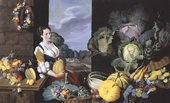 Fig.1 Nathaniel Bacon 1585‒1627 Cookmaid with Still Life of Vegetables and Fruit c.1620−5 Oil paint on canvas 1510 x 2475 mm T06995