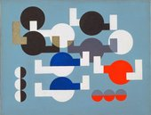 abstract painting showing a series of circles in white, blue, red and black on a pale blue background