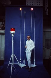 Takis with a selection of his Signals sculptures for the exhibition White Signals at Indica Gallery, London, 1966, photographed by Clay Perry