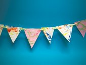 Bunting made from marbled paper